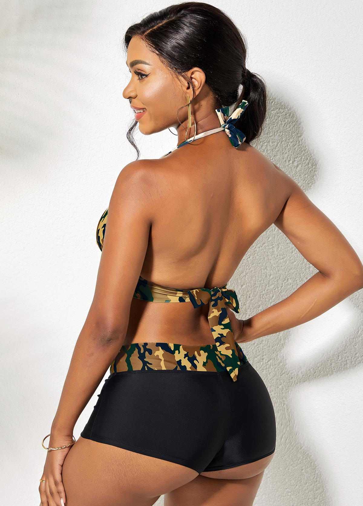 High Waist Camouflage Print Tie Back Halter Bikini Set