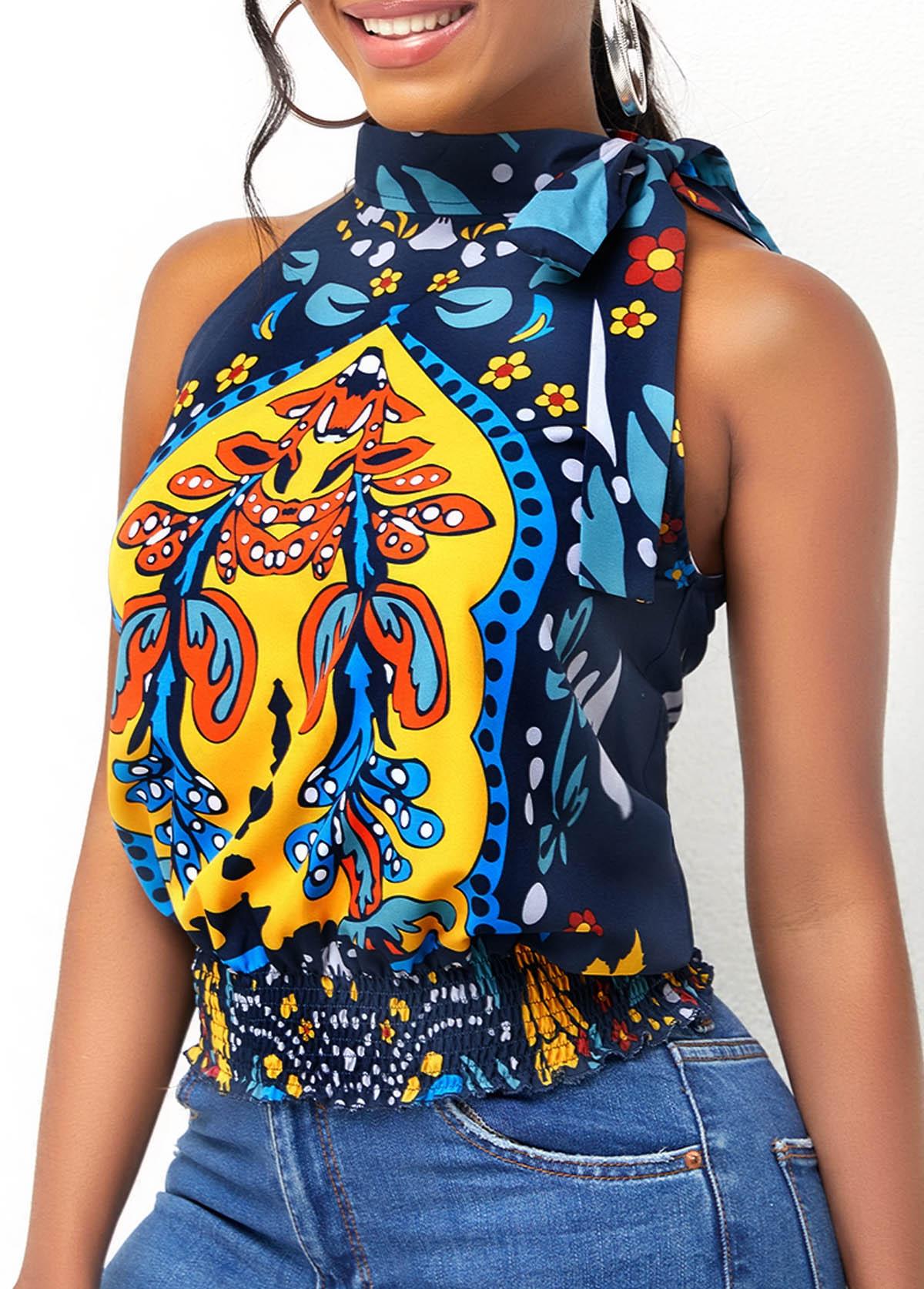 Sleeveless Tribal Print Tie Side Blouse