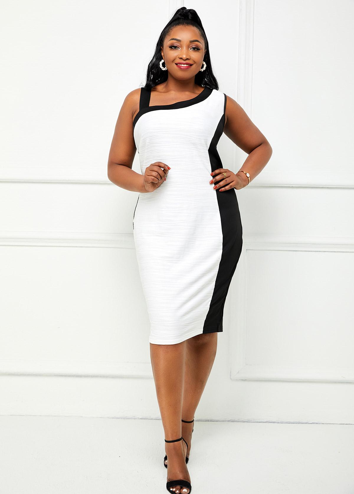 Contrast Plus Size Skew Neck Dress