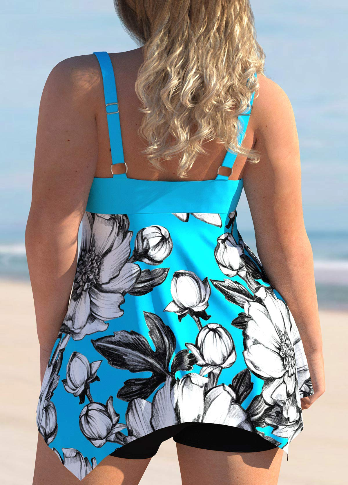 Floral Print Plus Size Bowknot Swimdress and Shorts