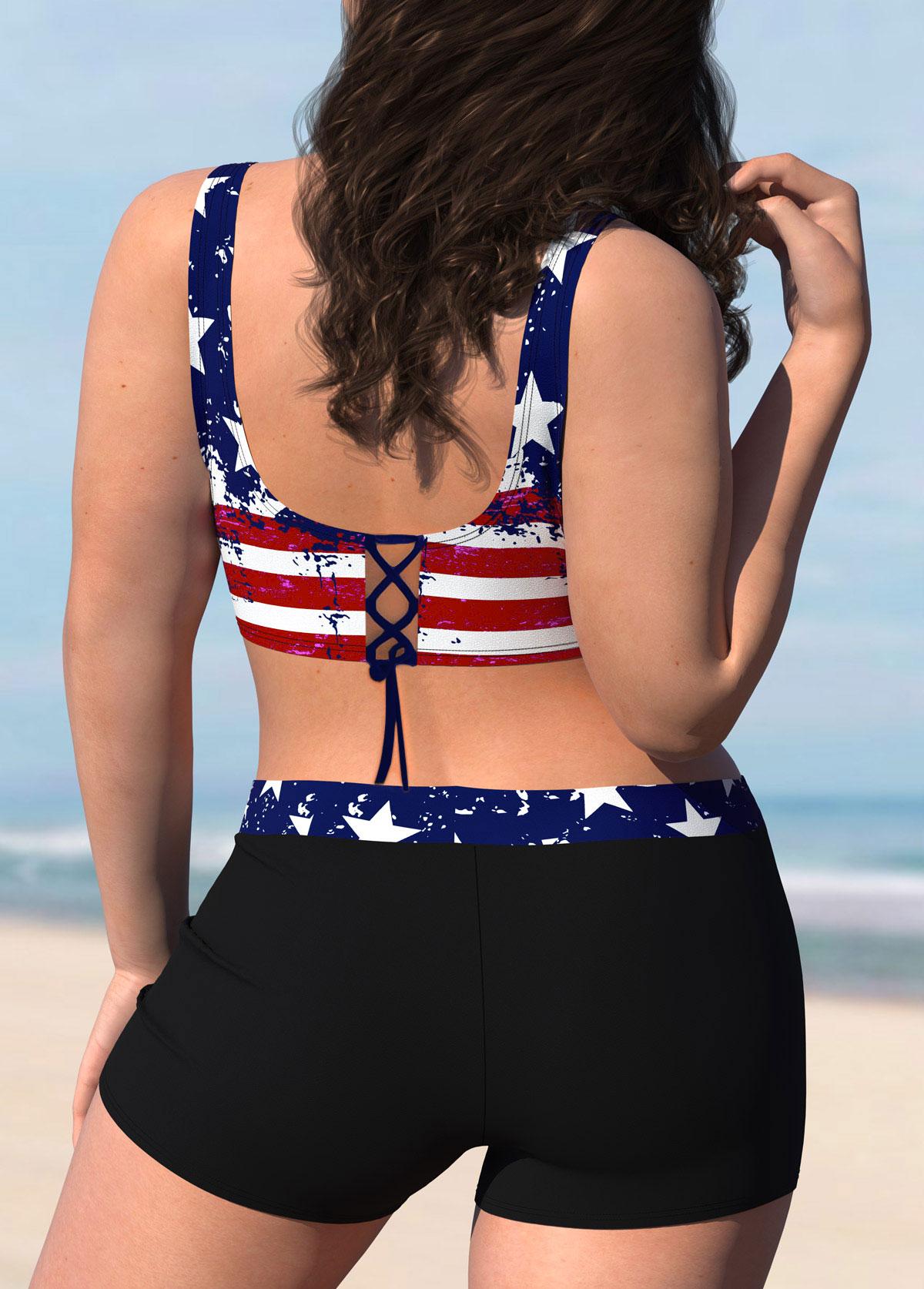 American Flag Print Plus Size Bikini Set