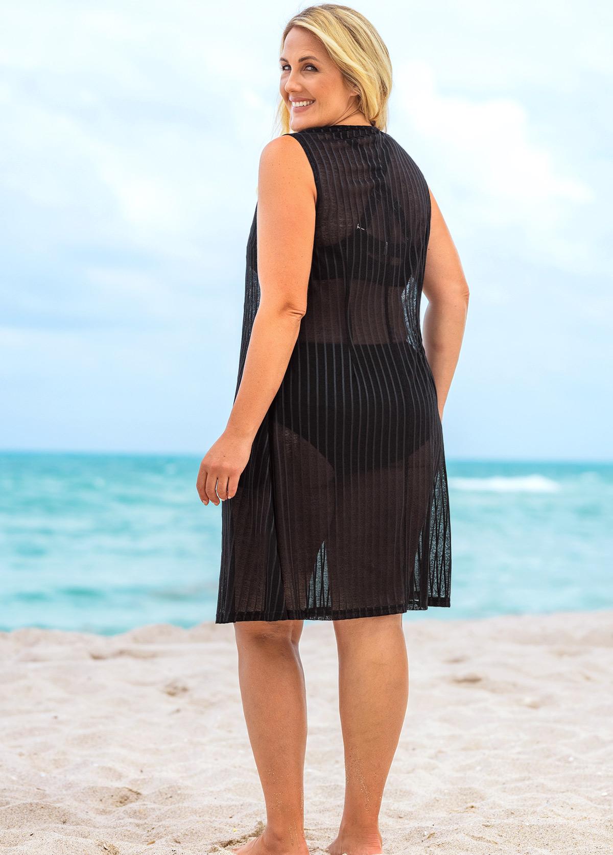 Sleeveless Plus Size Round Neck Cover Up