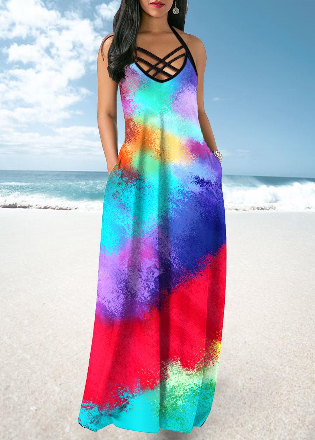Multicolor Tie Dye Print Cross Strap Maxi Dress