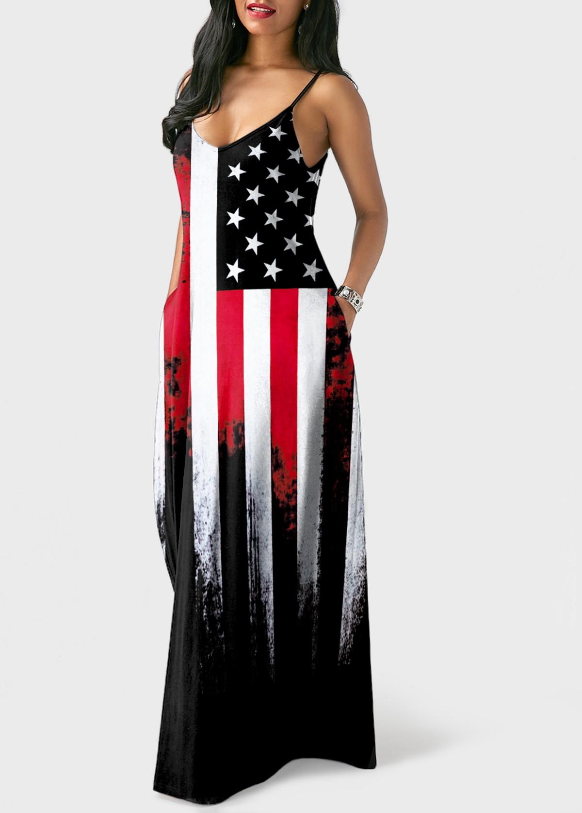 American Flag Print Spaghetti Strap Maxi Dress