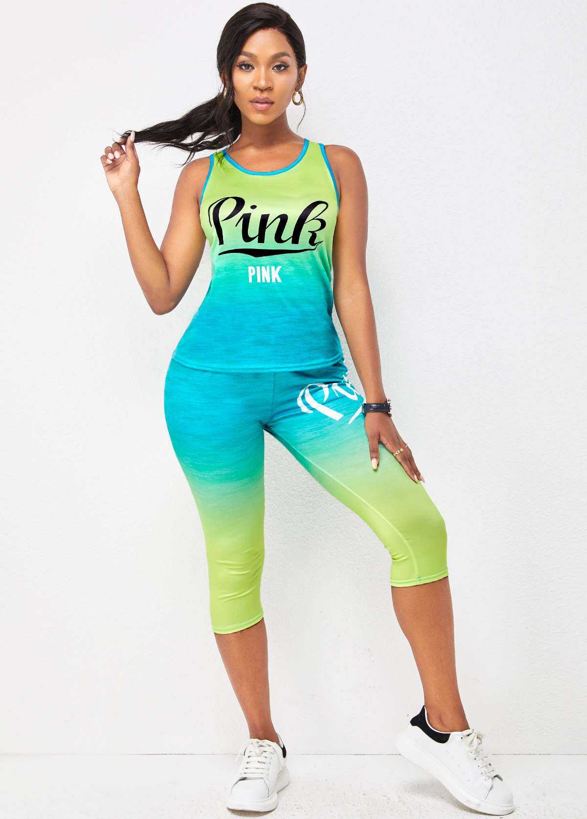 Sleeveless Letter Print Round Neck Sports Suit