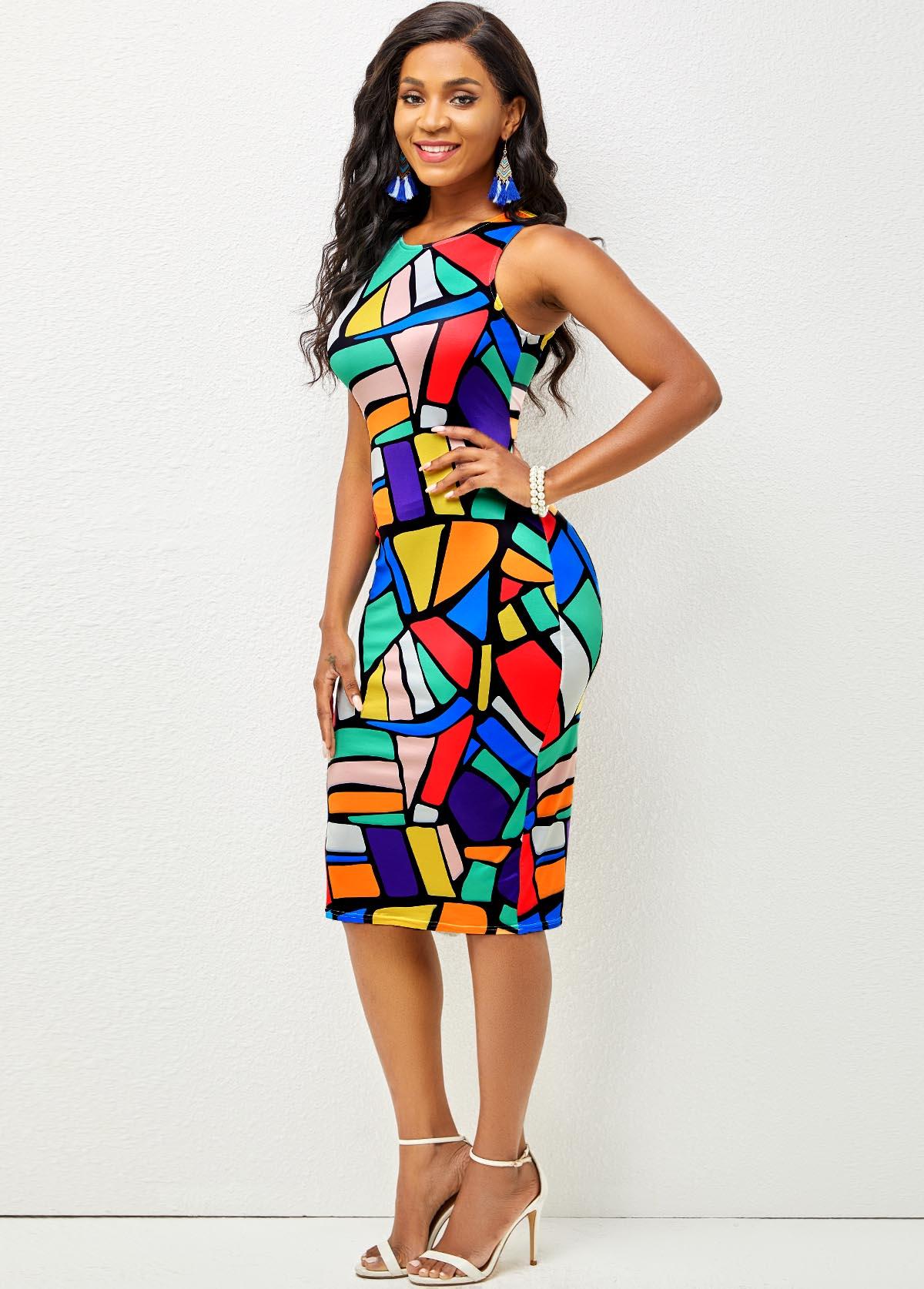 Sleeveless Geometric Print Round Neck Dress