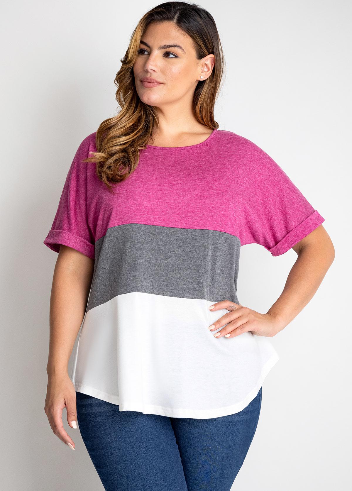 Round Neck Plus Size Contrast T Shirt