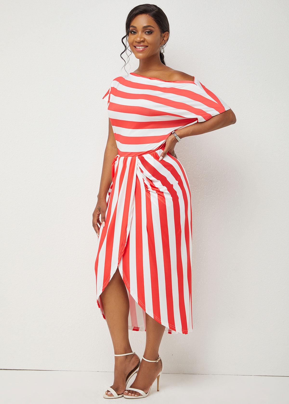 One Shoulder Striped Print Skew Neck Dress
