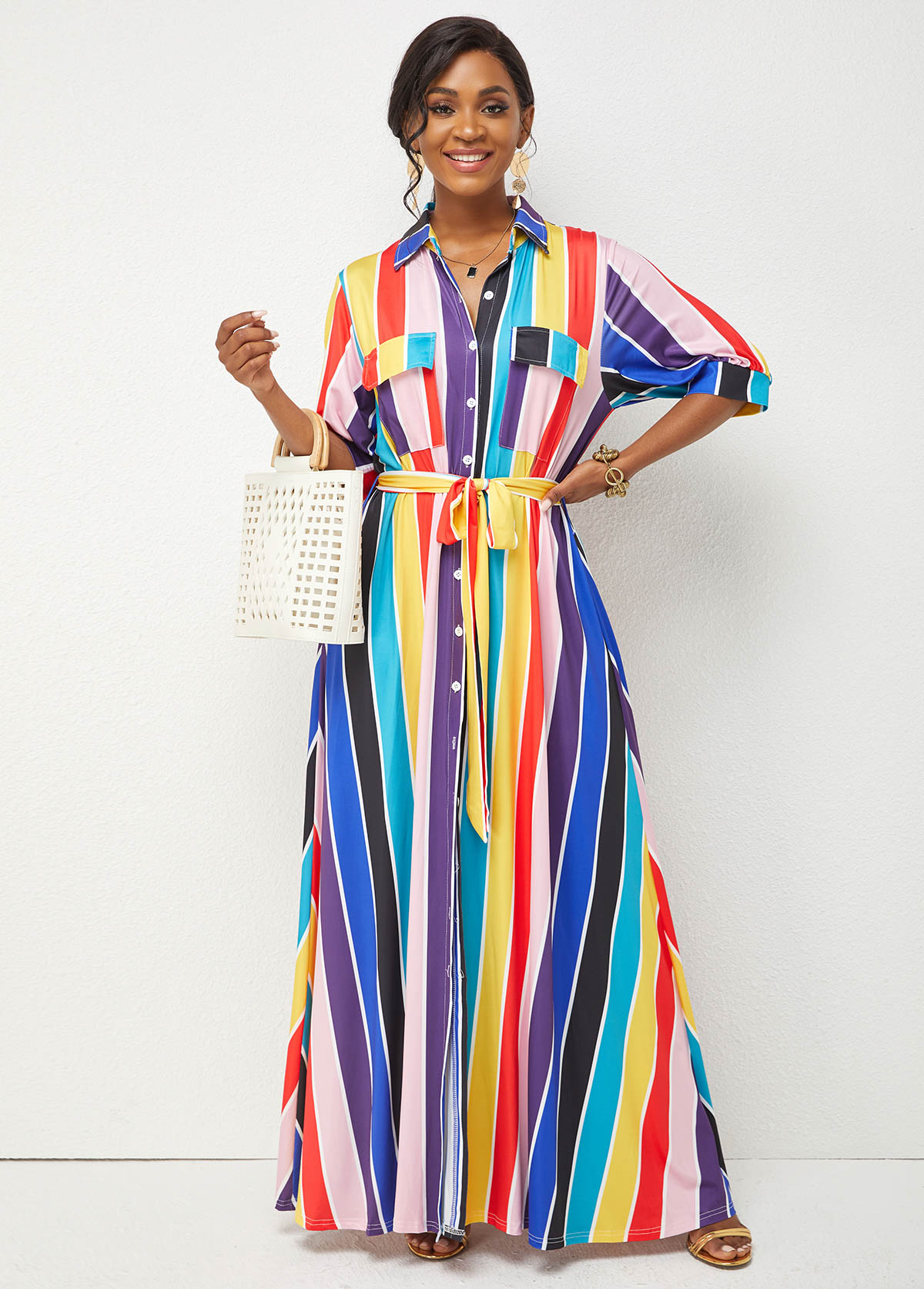 Belted Rainbow Stripe Turndown Collar Maxi Dress