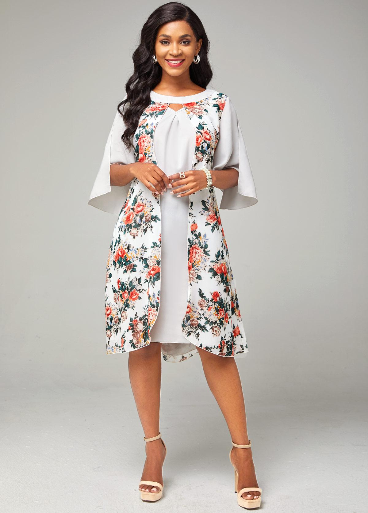 Floral Print Keyhole Neckline Chiffon Dress