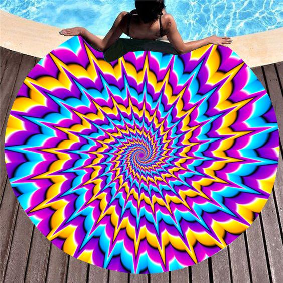 Colorful Printed Circular Design Beach Blanket