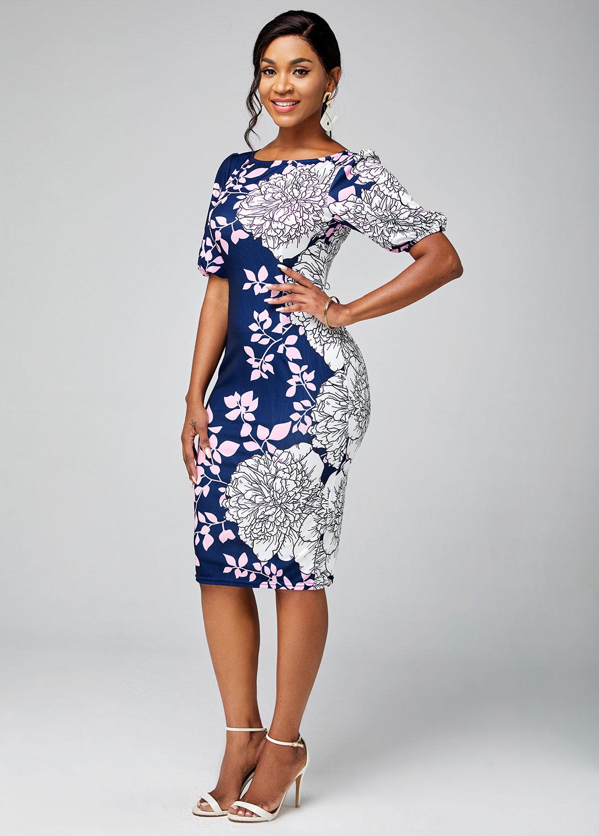Short Sleeve Floral Print Round Neck Bodycon Dress