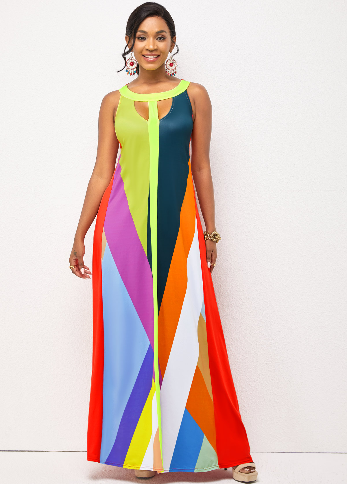 Sleeveless Contrast Cutout Front Dress
