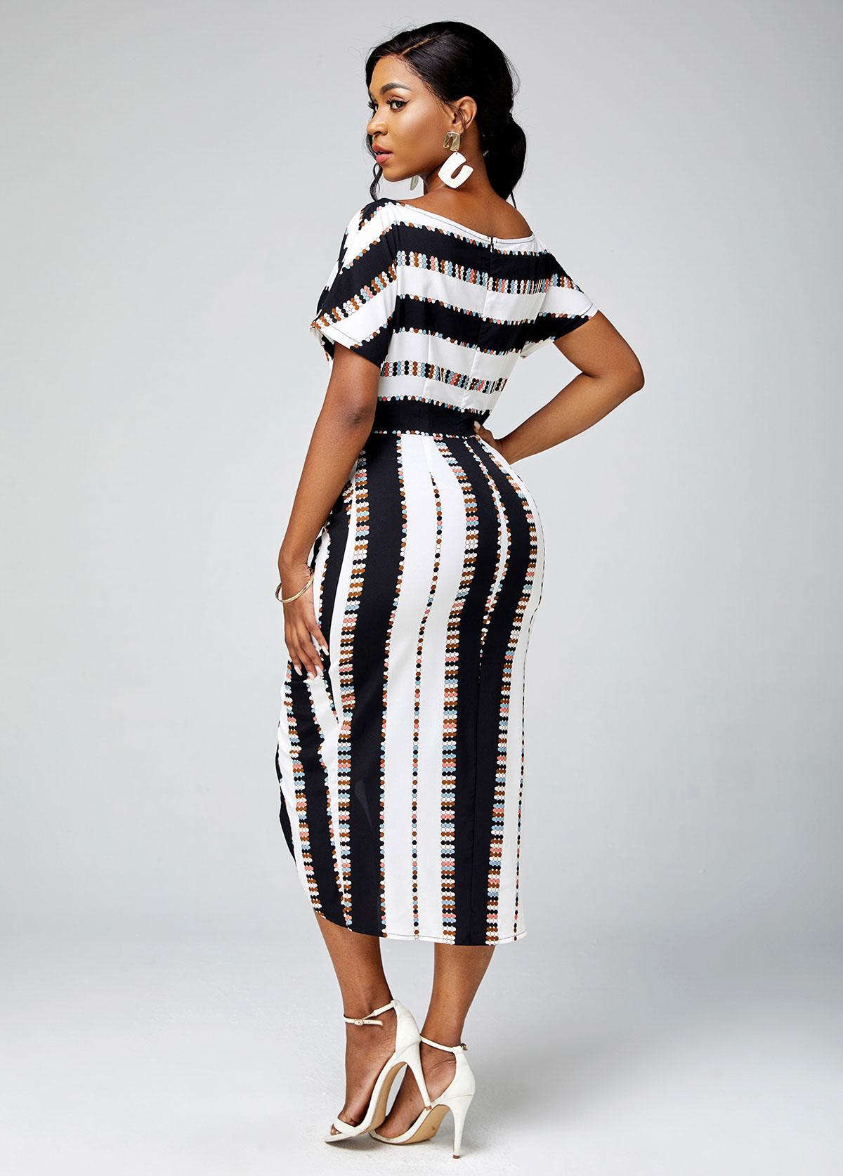 Short Sleeve Striped Skew Neck Dress