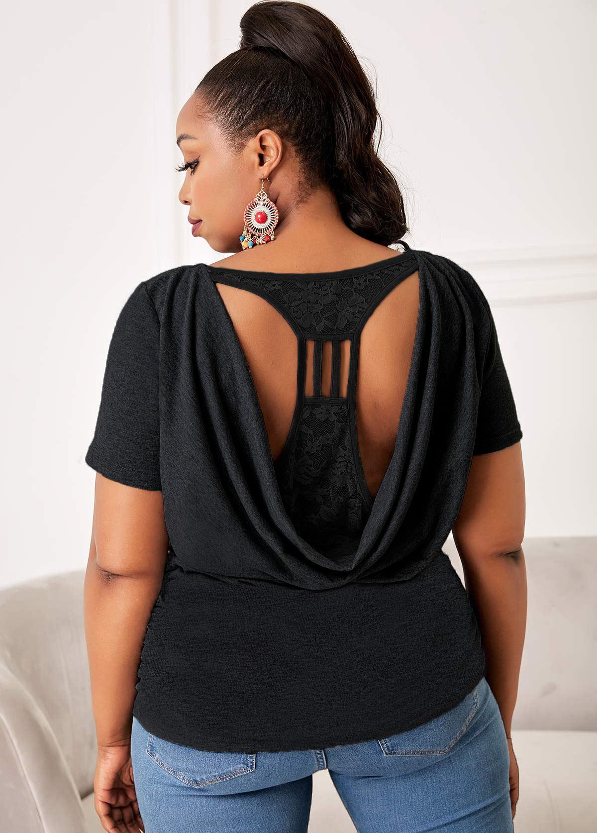 Pierced Plus Size Lace Stitching T Shirt