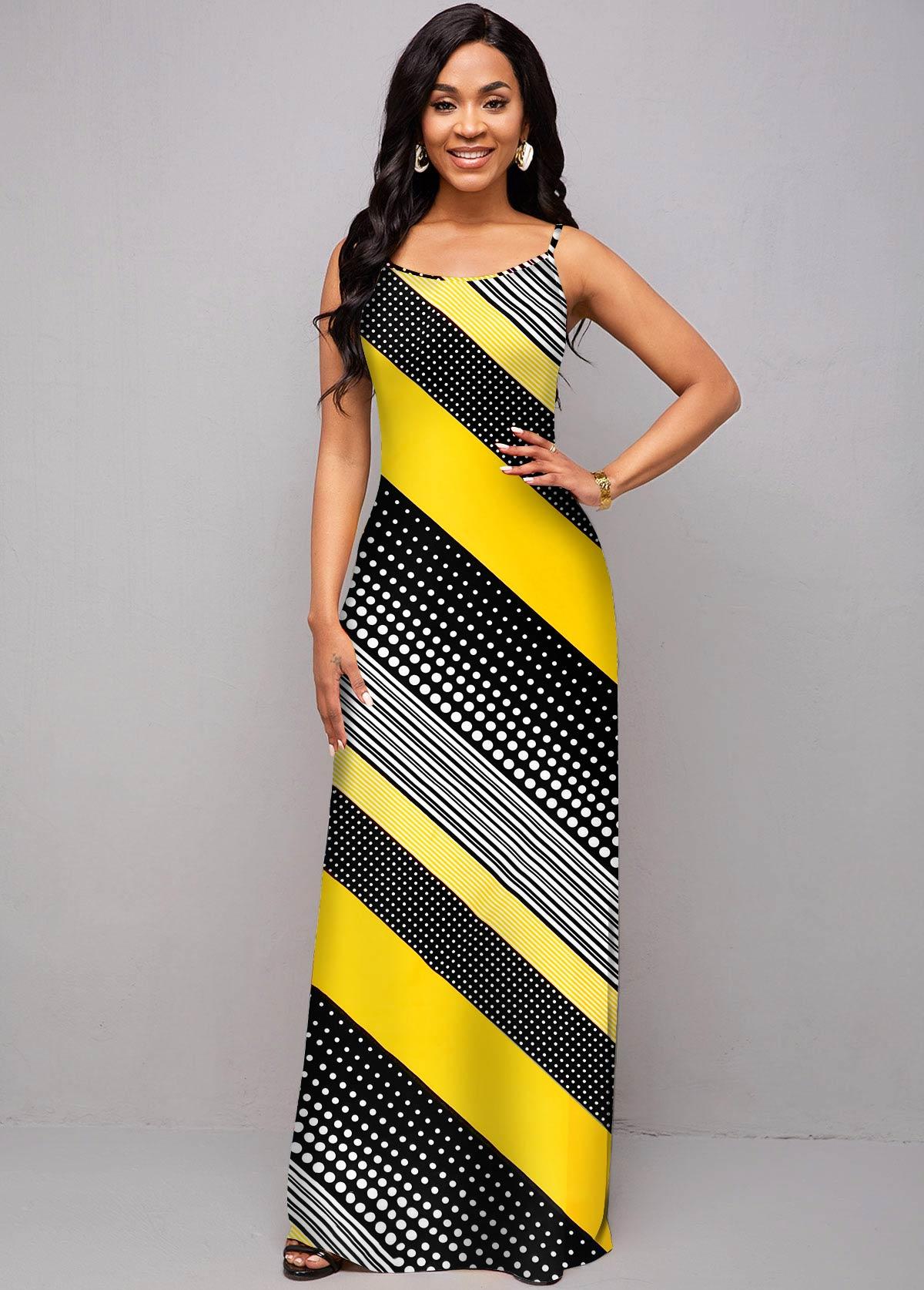 Spaghetti Strap Moroccan Print Maxi Dress