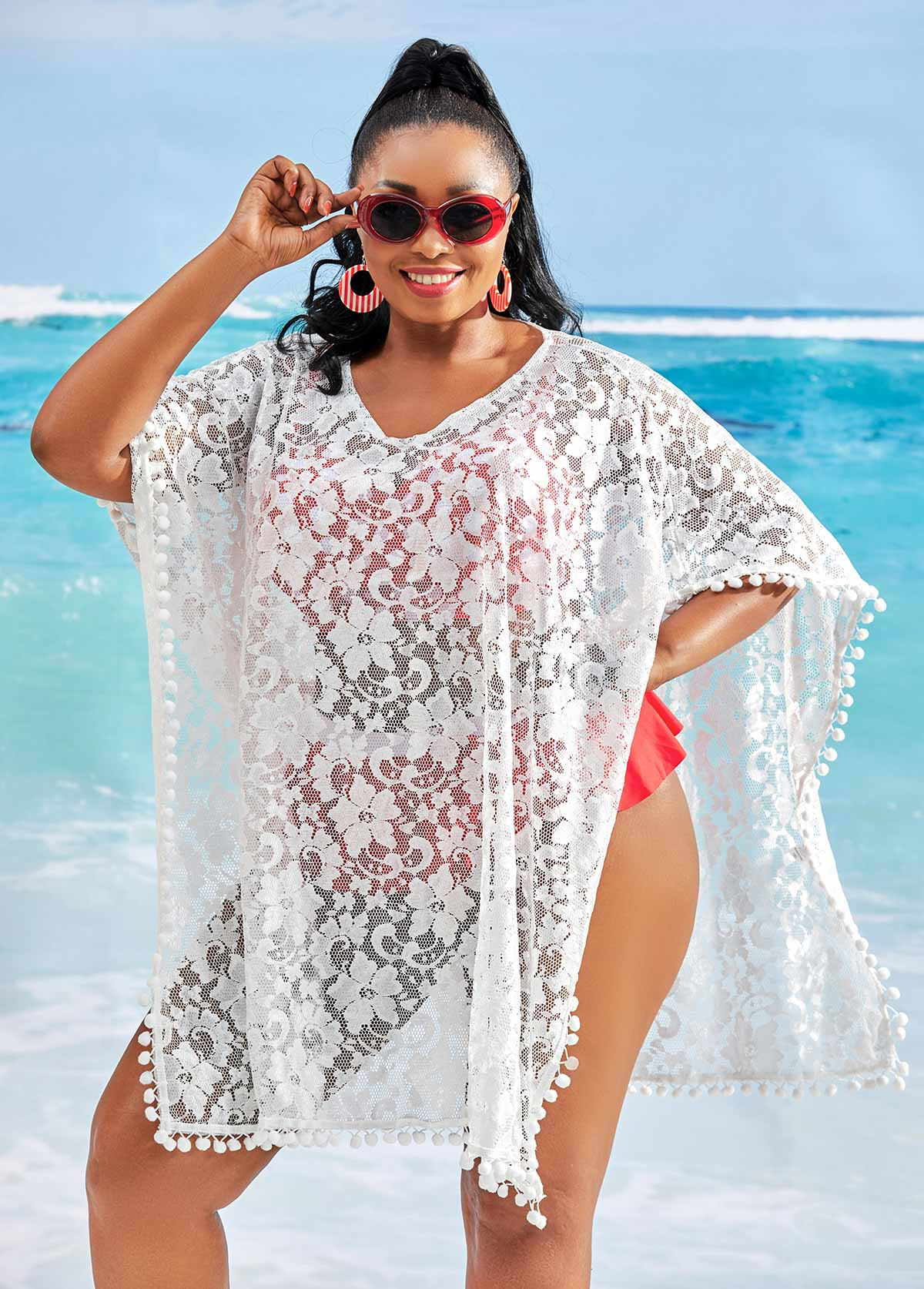 Lace Stitching Plus Size V Neck Cover Up