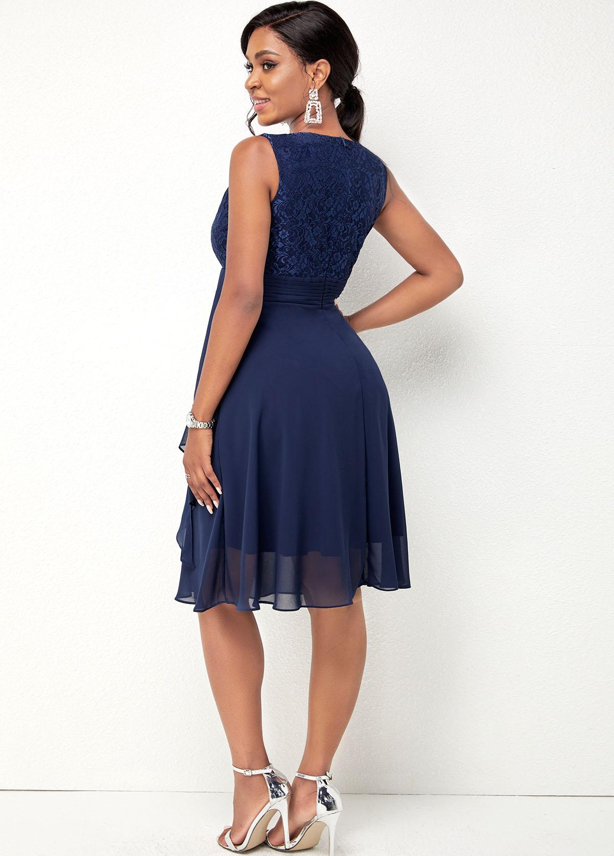 Lace Stitching Navy Blue Chiffon Dress