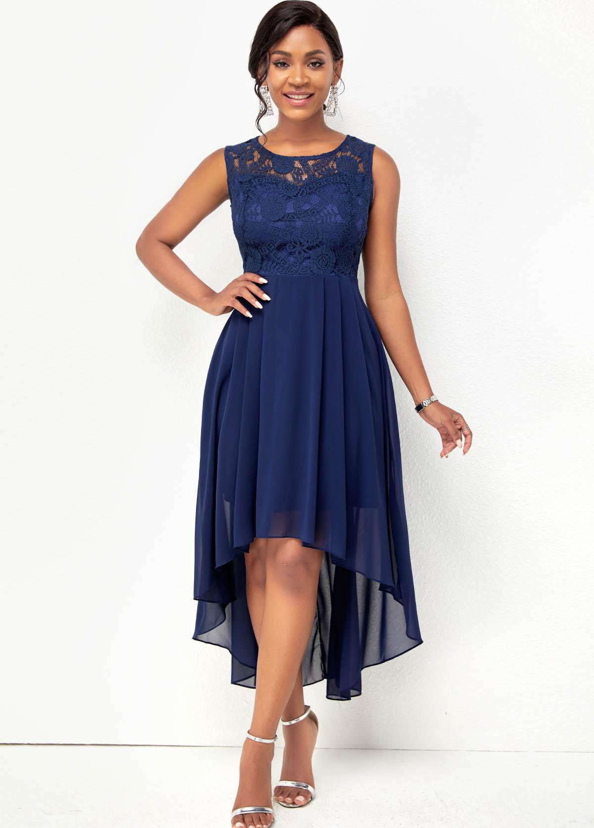 Lace Stitching Sleeveless Chiffon High Low Dress