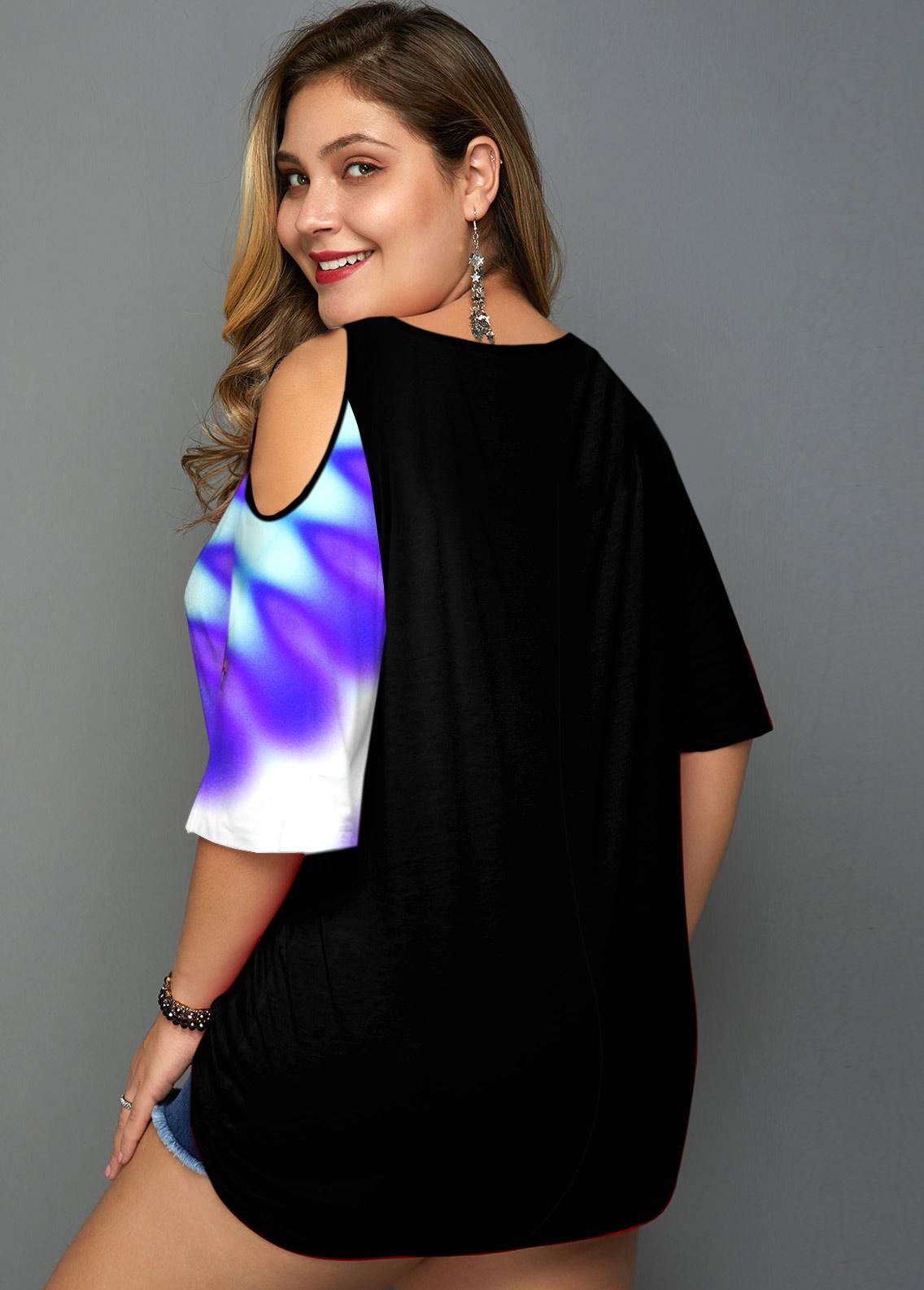 Plus Size Cold Shoulder V Neck T Shirt