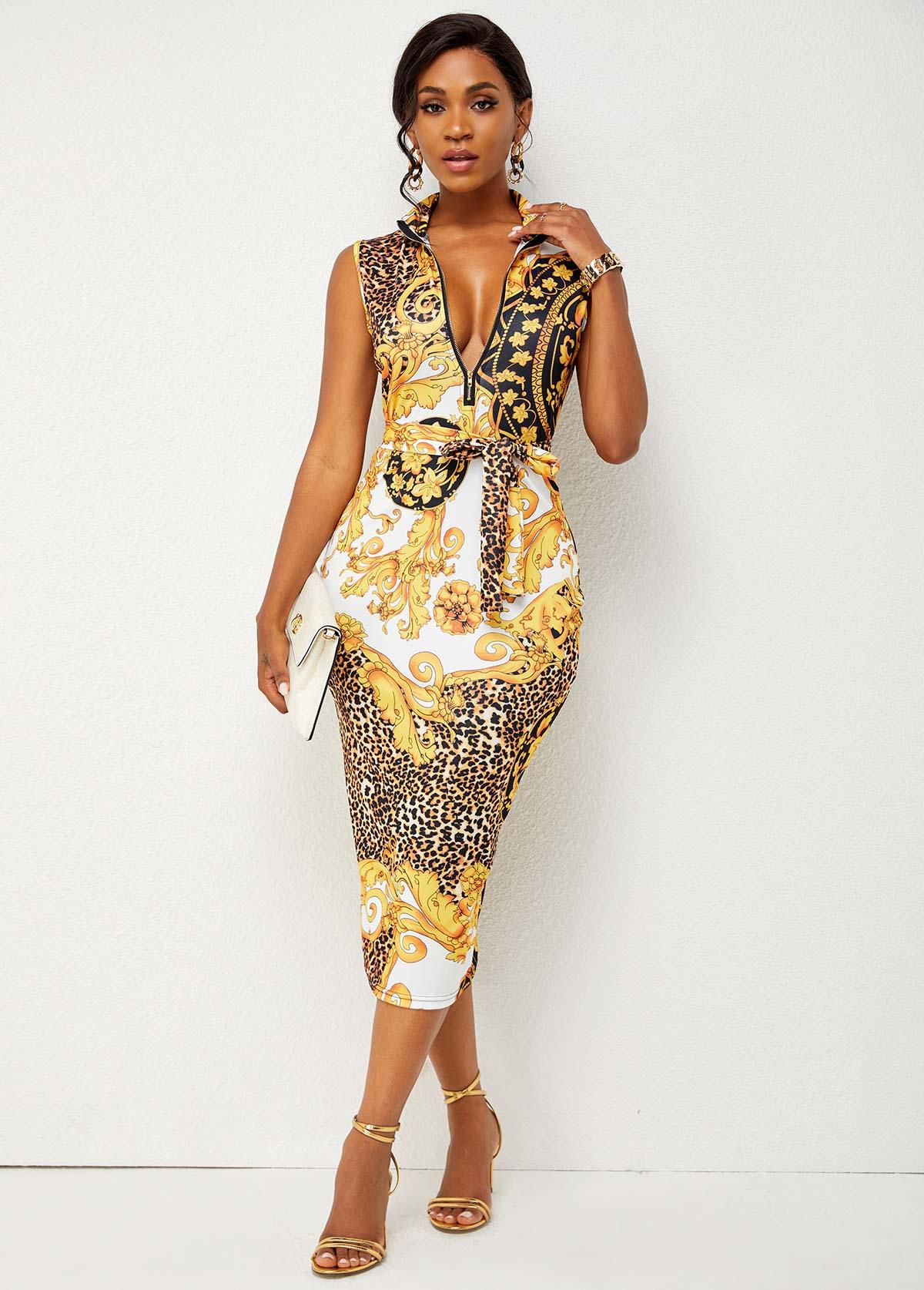 Belted Baroque Print Quarter Zip Bodycon Dress