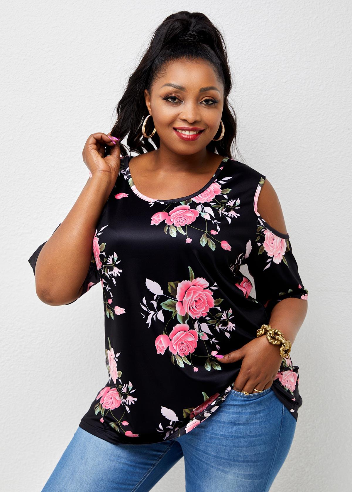 Cold Shoulder Plus Size Floral Print T Shirt