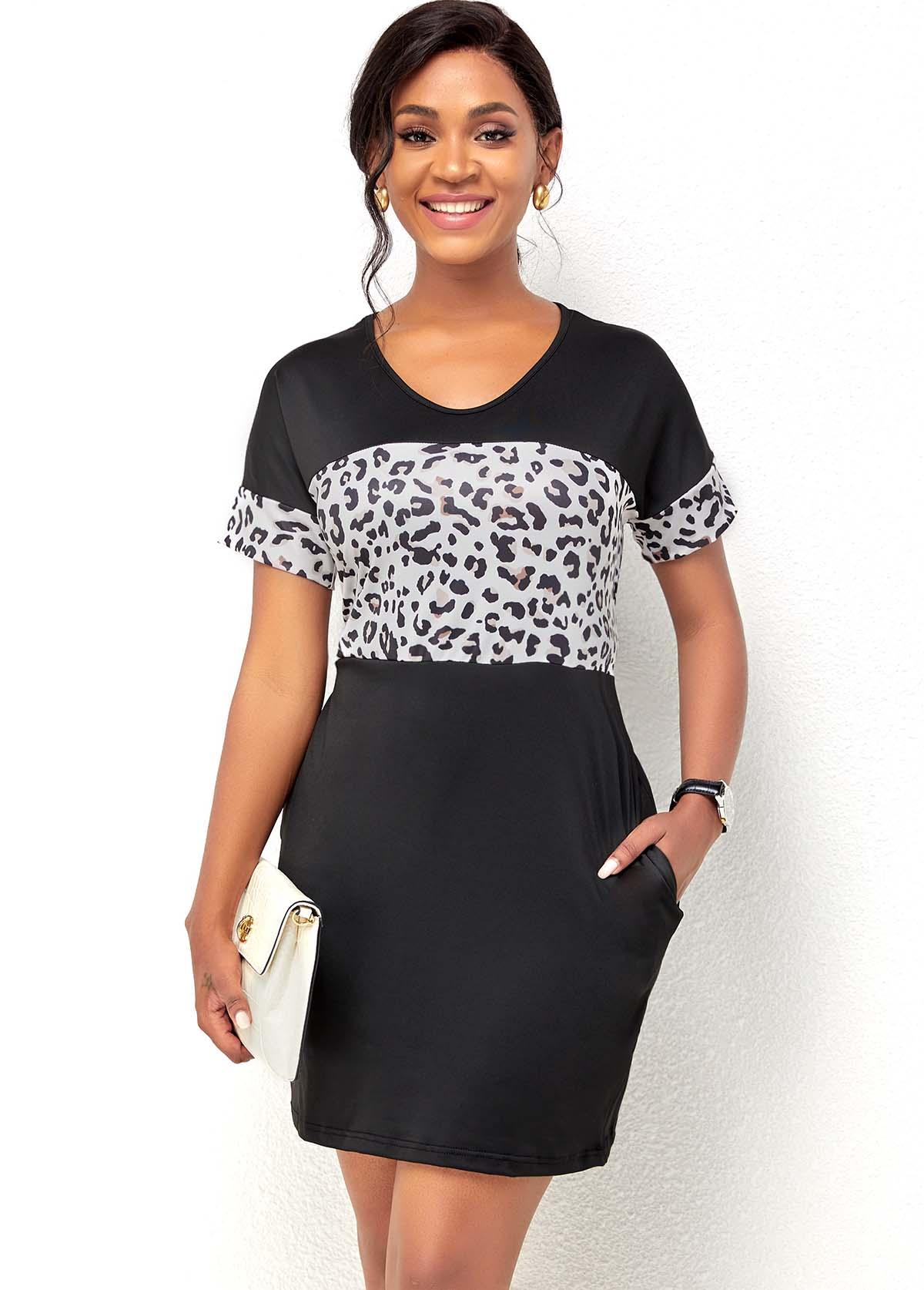 Short Sleeve Leopard Print Double Pocket Dress
