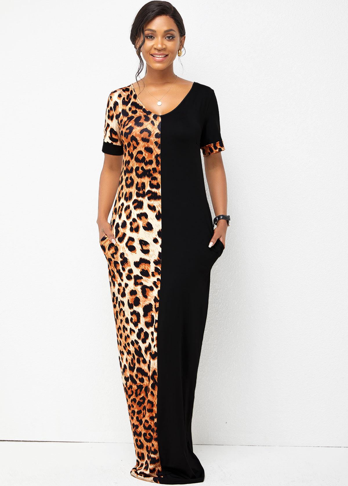 Leopard V Neck Short Sleeve Dress