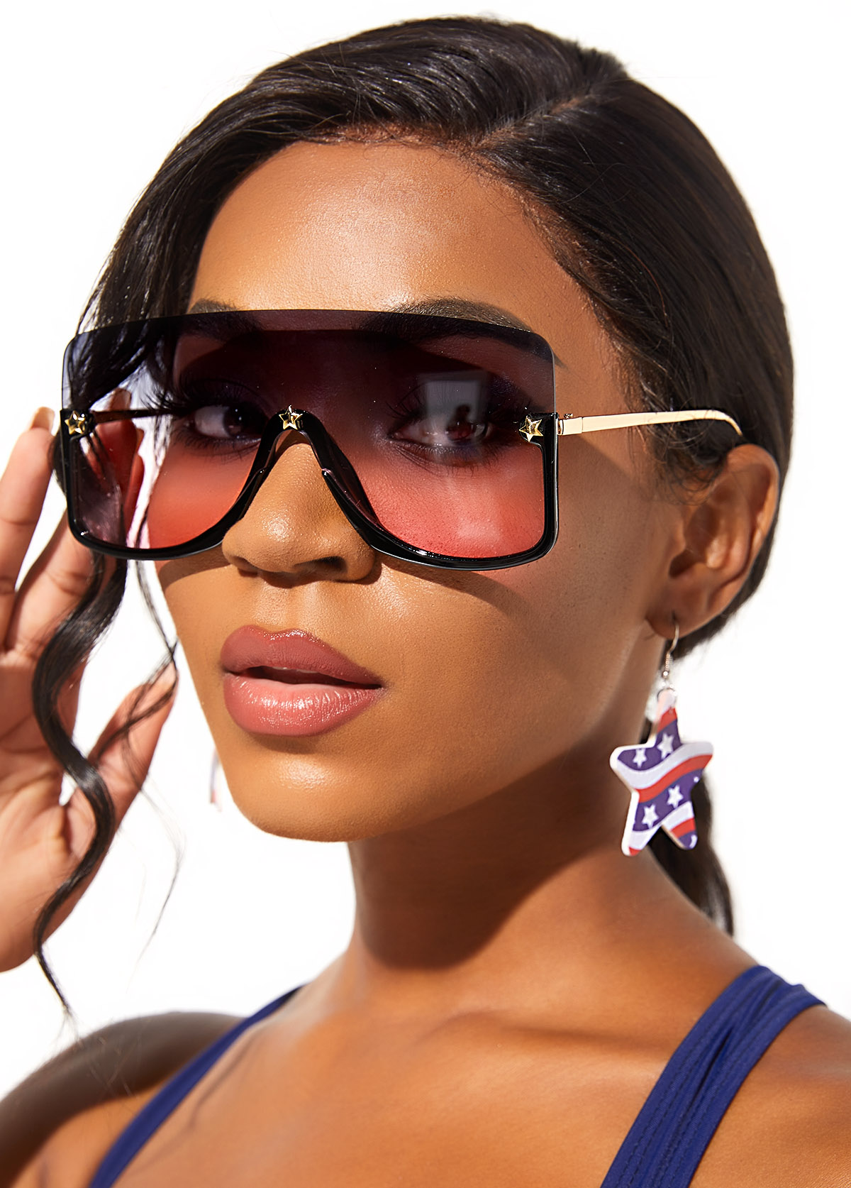Metal Detail Ombre Rimless Design Sunglasses