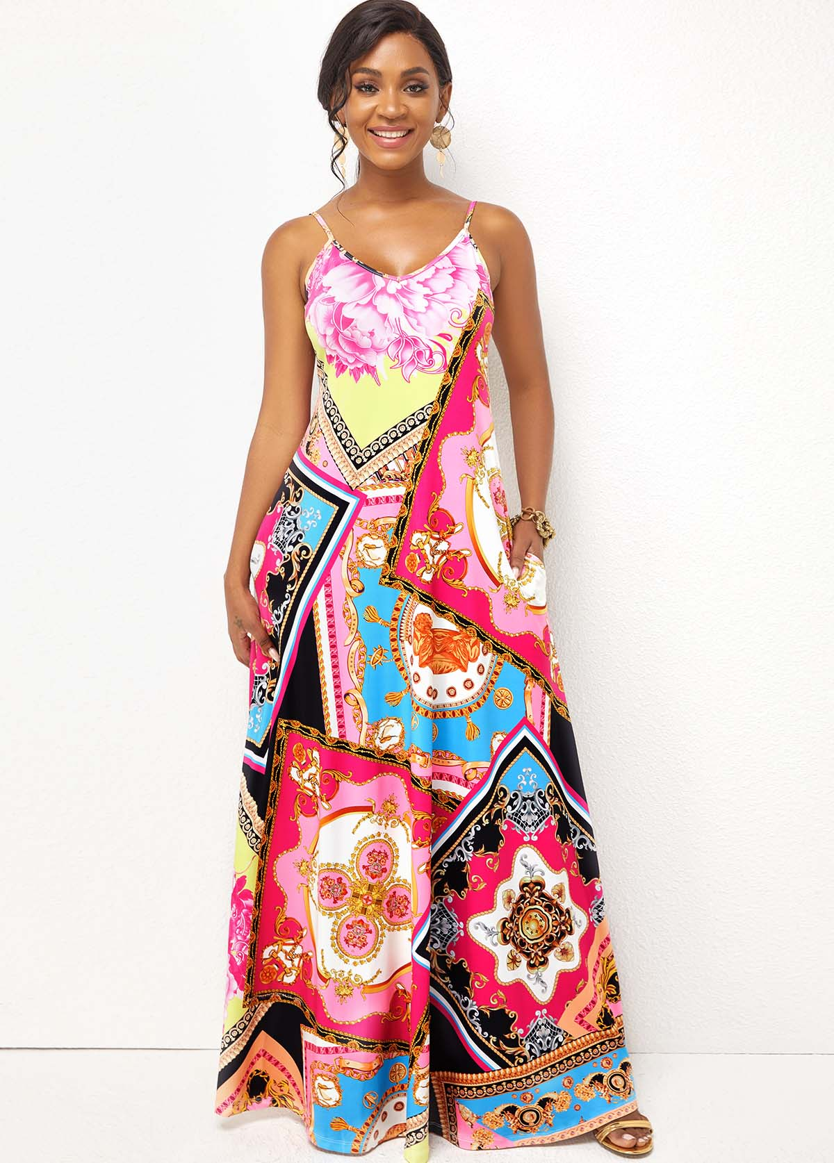 Pink Printed Spaghetti Strap Maxi Dress