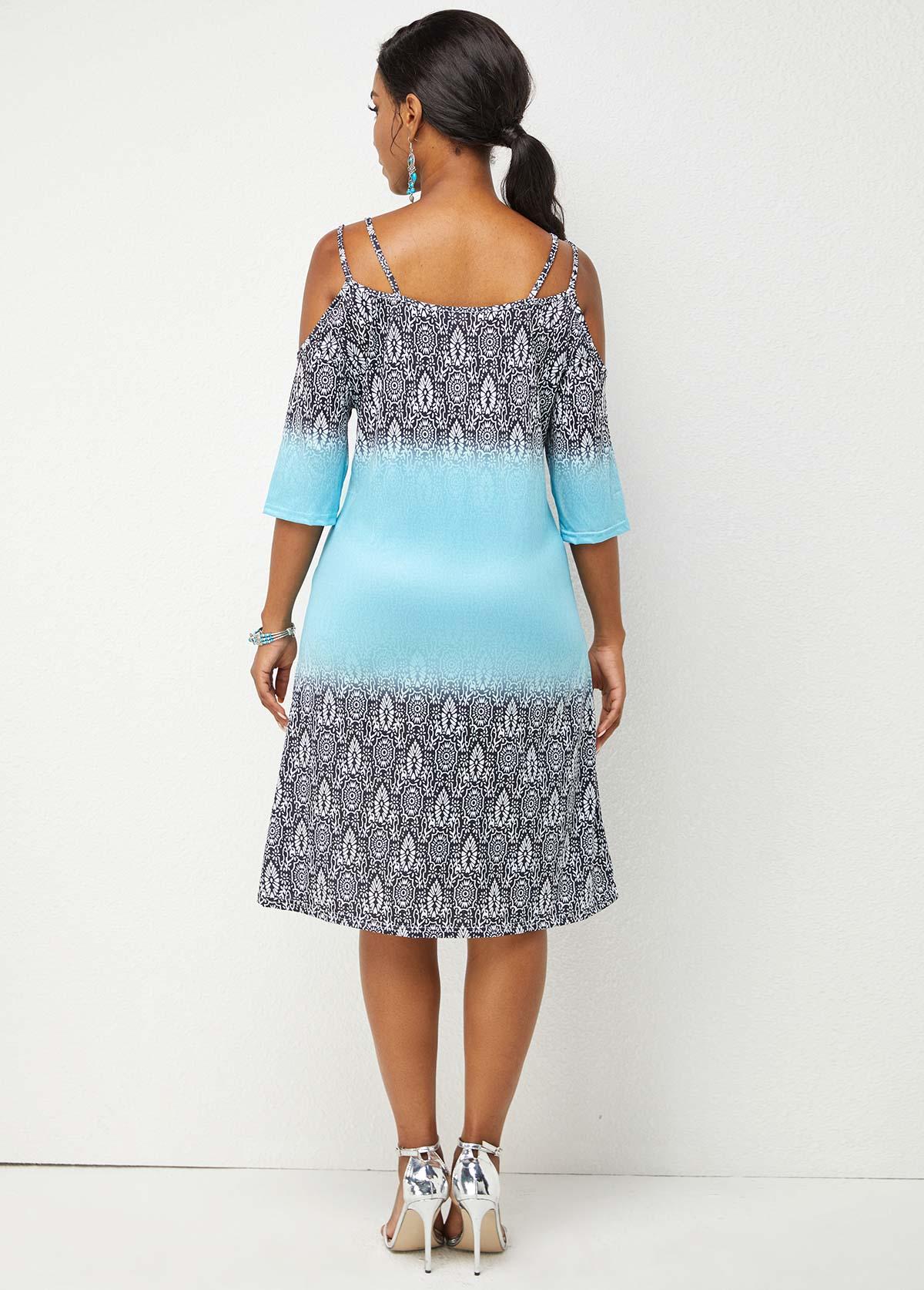 Spaghetti Strap 3/4 Sleeve Printed Dress