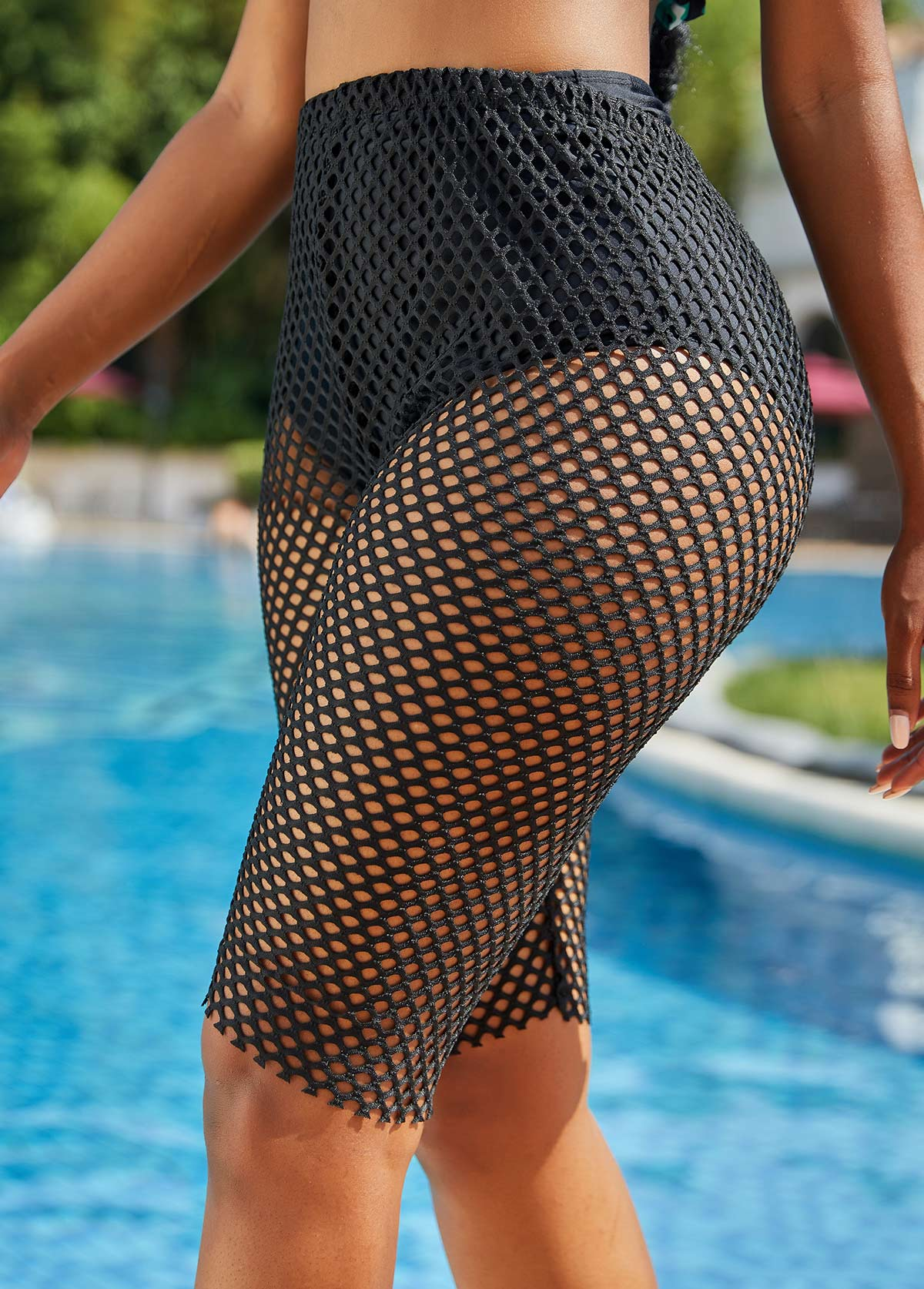 Solid Fishnet High Waist Skinny Beach Pants