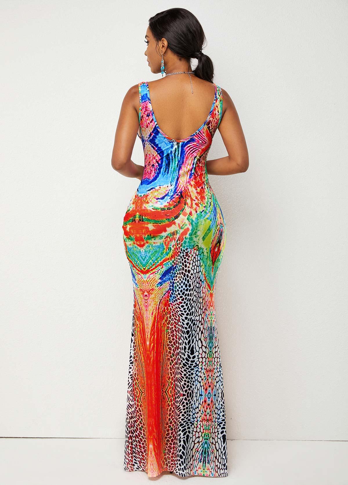 High Waist Wide Strap Printed Dress