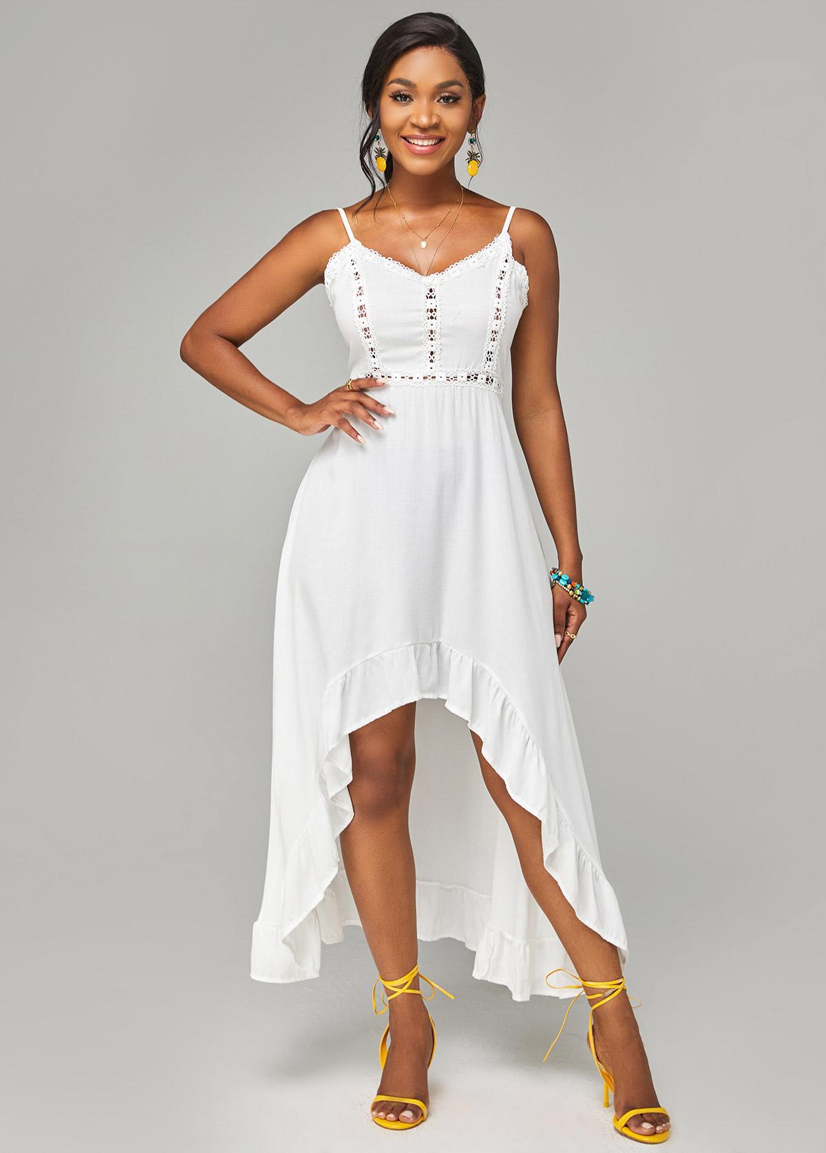 Lace Stitching Spaghetti Strap Asymmetric Hem Dress