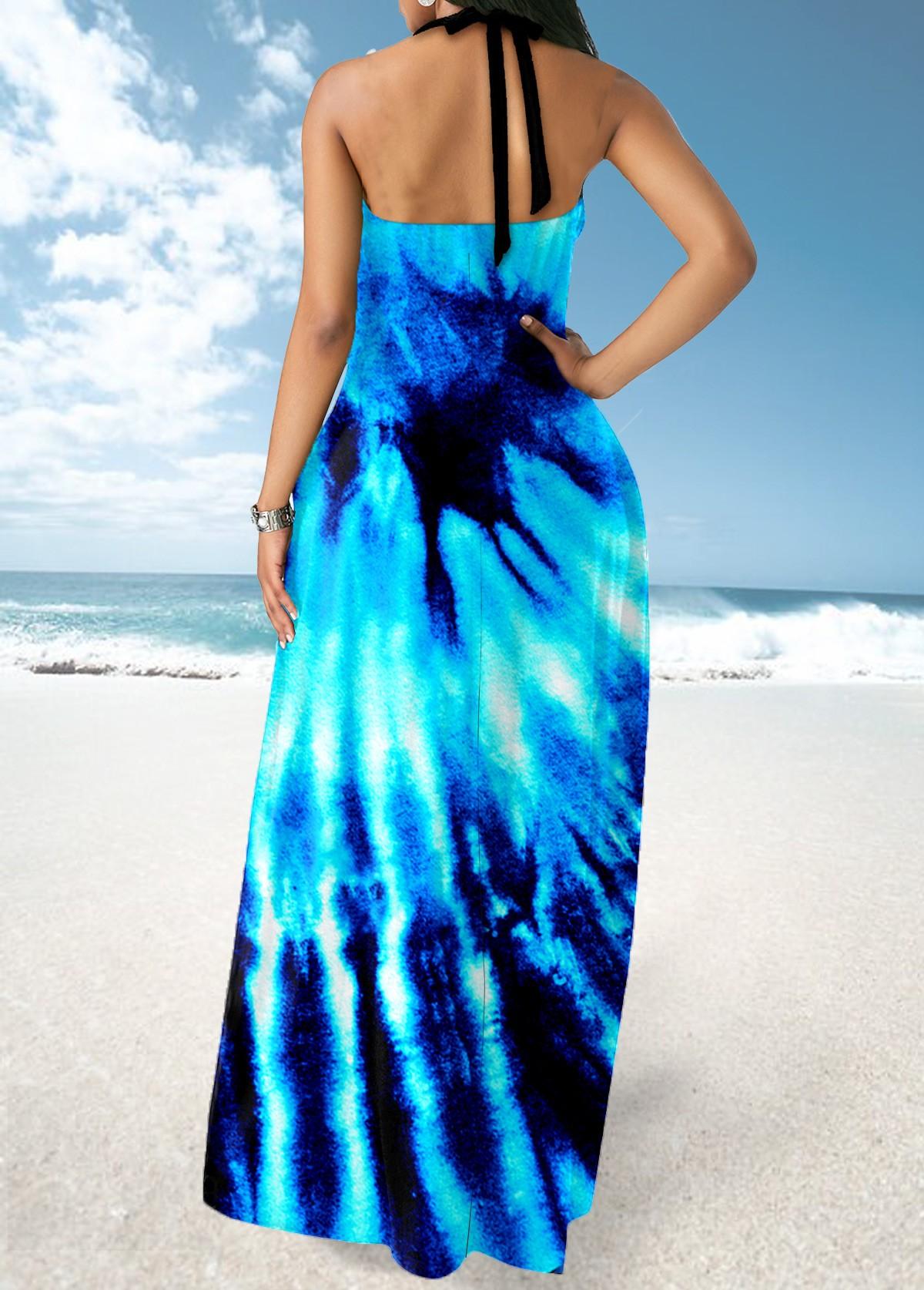 Tie Dye Print Cross Strap Colorful Maxi Dress