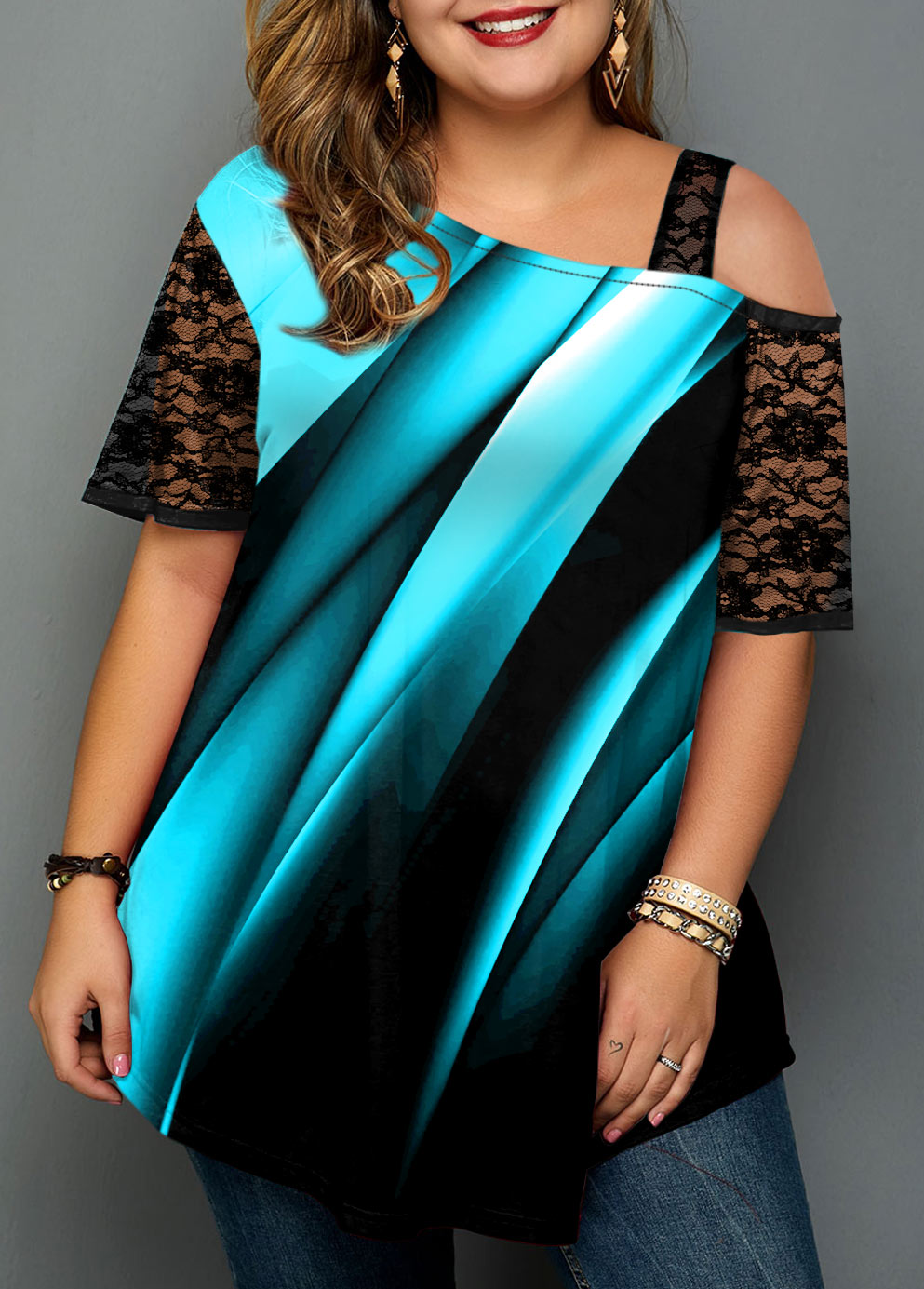Ombre Plus Size Lace Stitching T Shirt