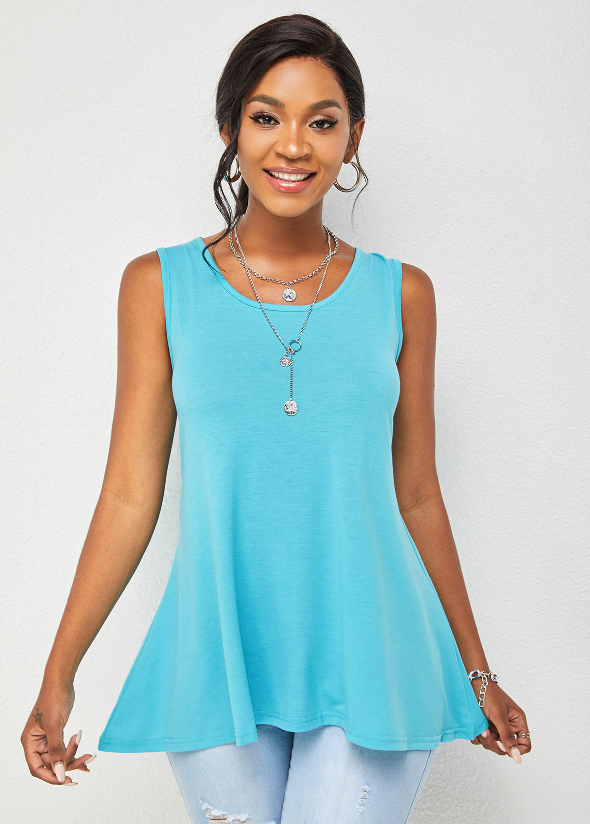 Solid Cross Strap Round Neck Tank Top