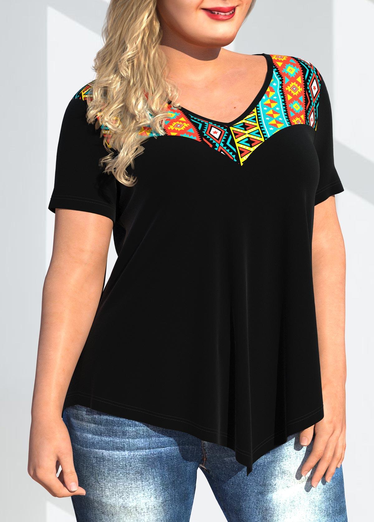 Asymmetric Hem Plus Size Tribal Print T Shirt