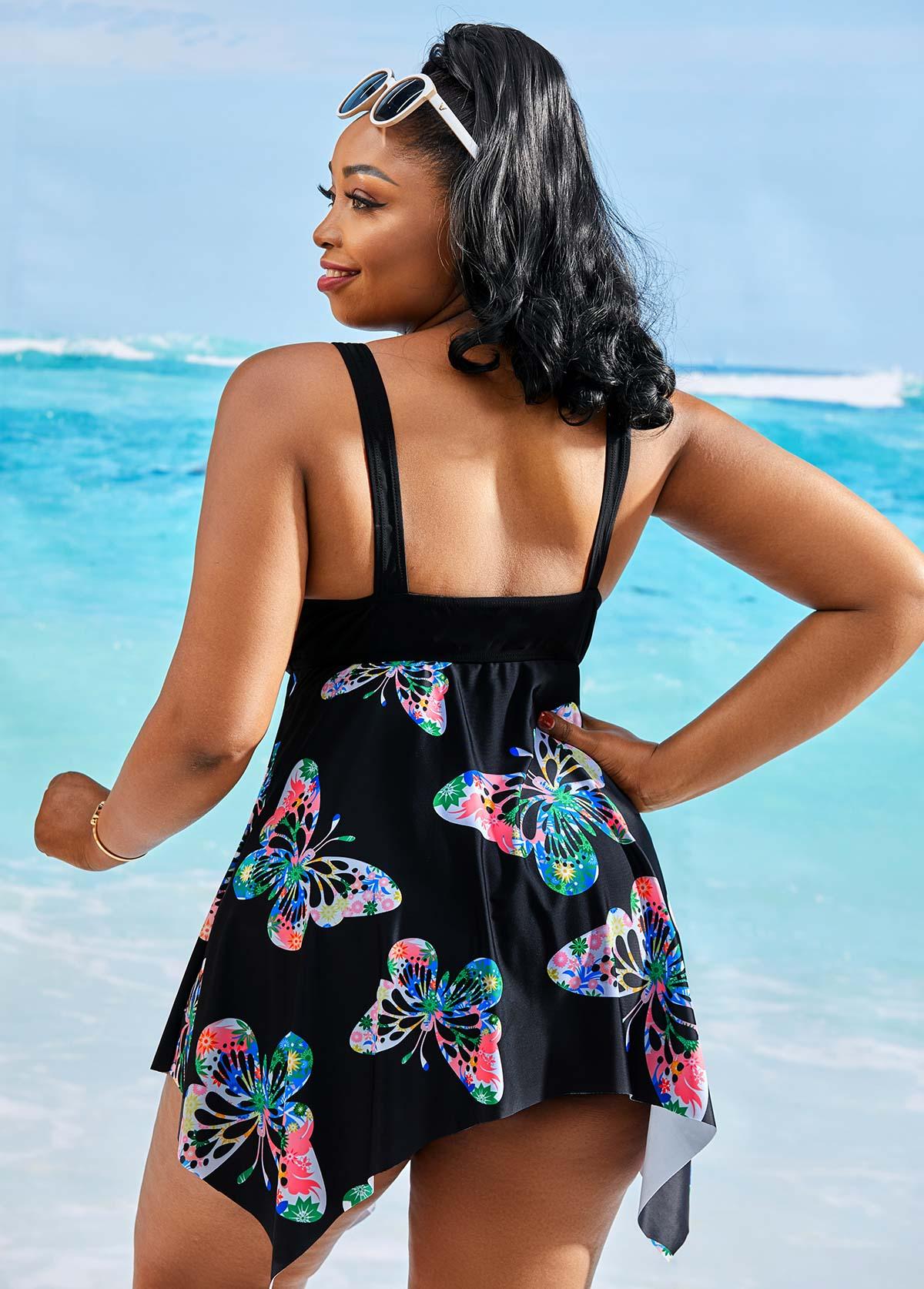 Plus Size Butterfly Print Asymmetric Hem Swimdress and Shorts