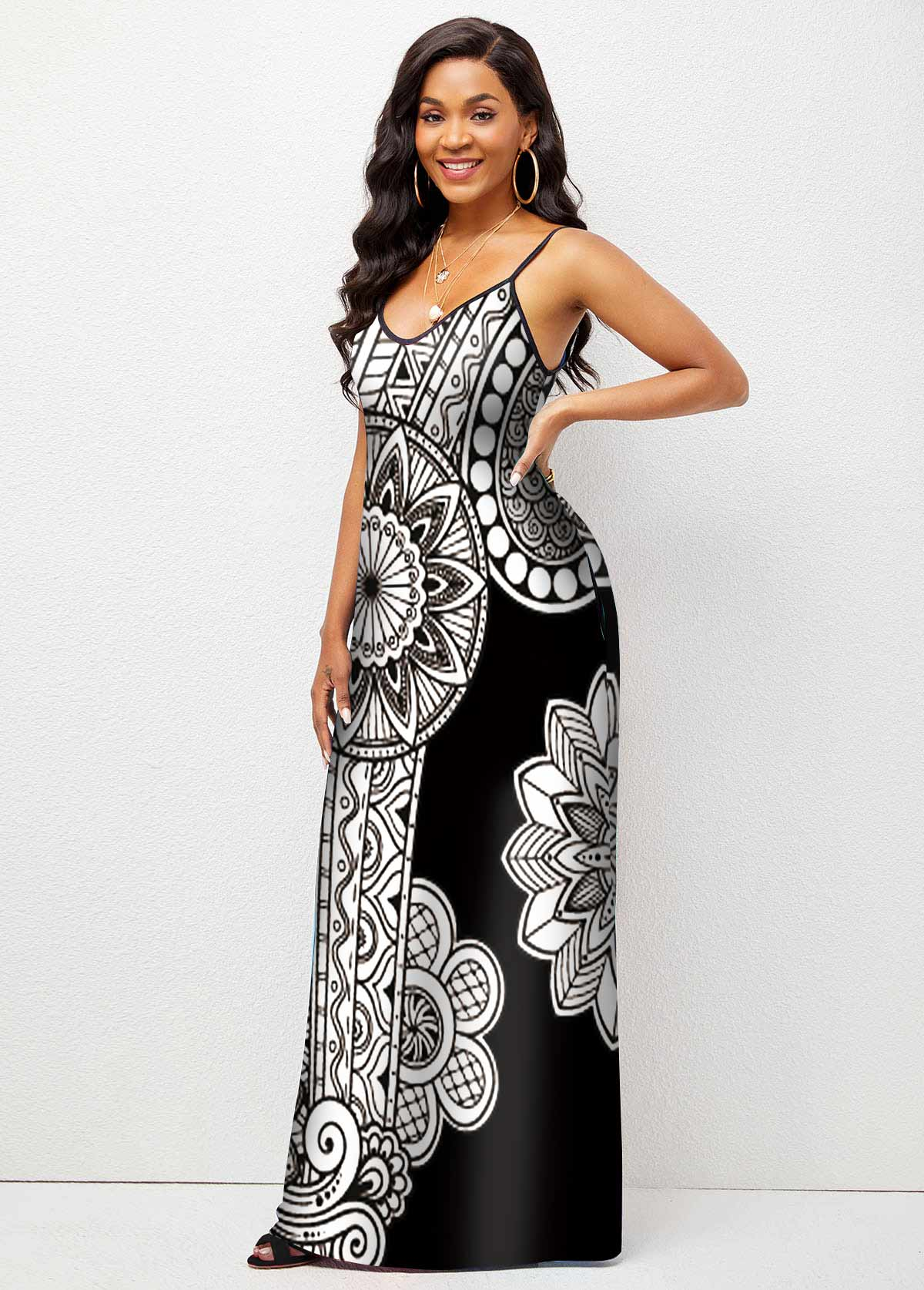 High Waist Spaghetti Strap Floral Print Maxi Dress