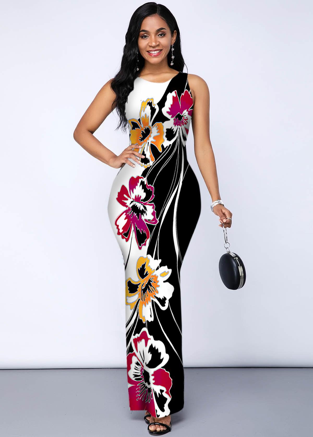 Side Slit Wide Strap Round Neck Dress