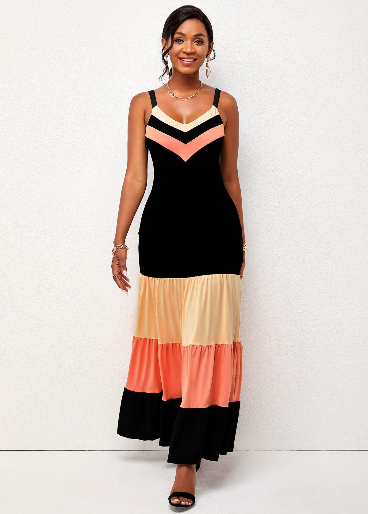 Chevron Print Wide Strap Contrast Dress