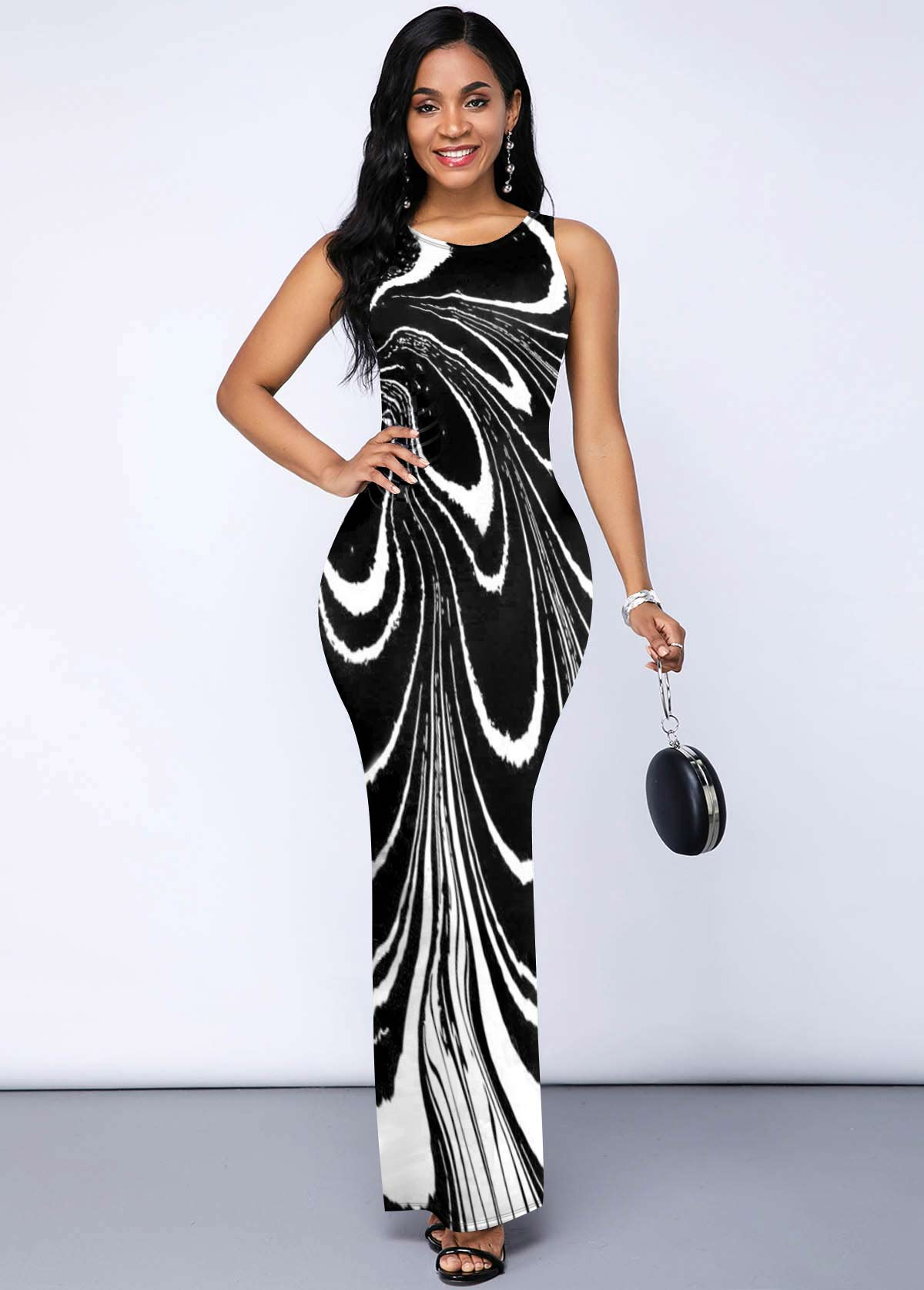 Side Slit Printed Round Neck Dress