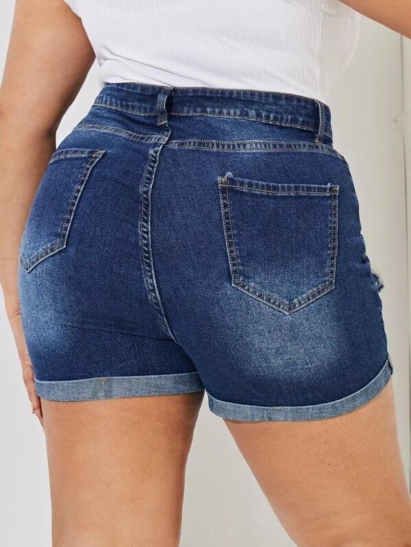 Slant Pocket Plus Size Denim Shorts