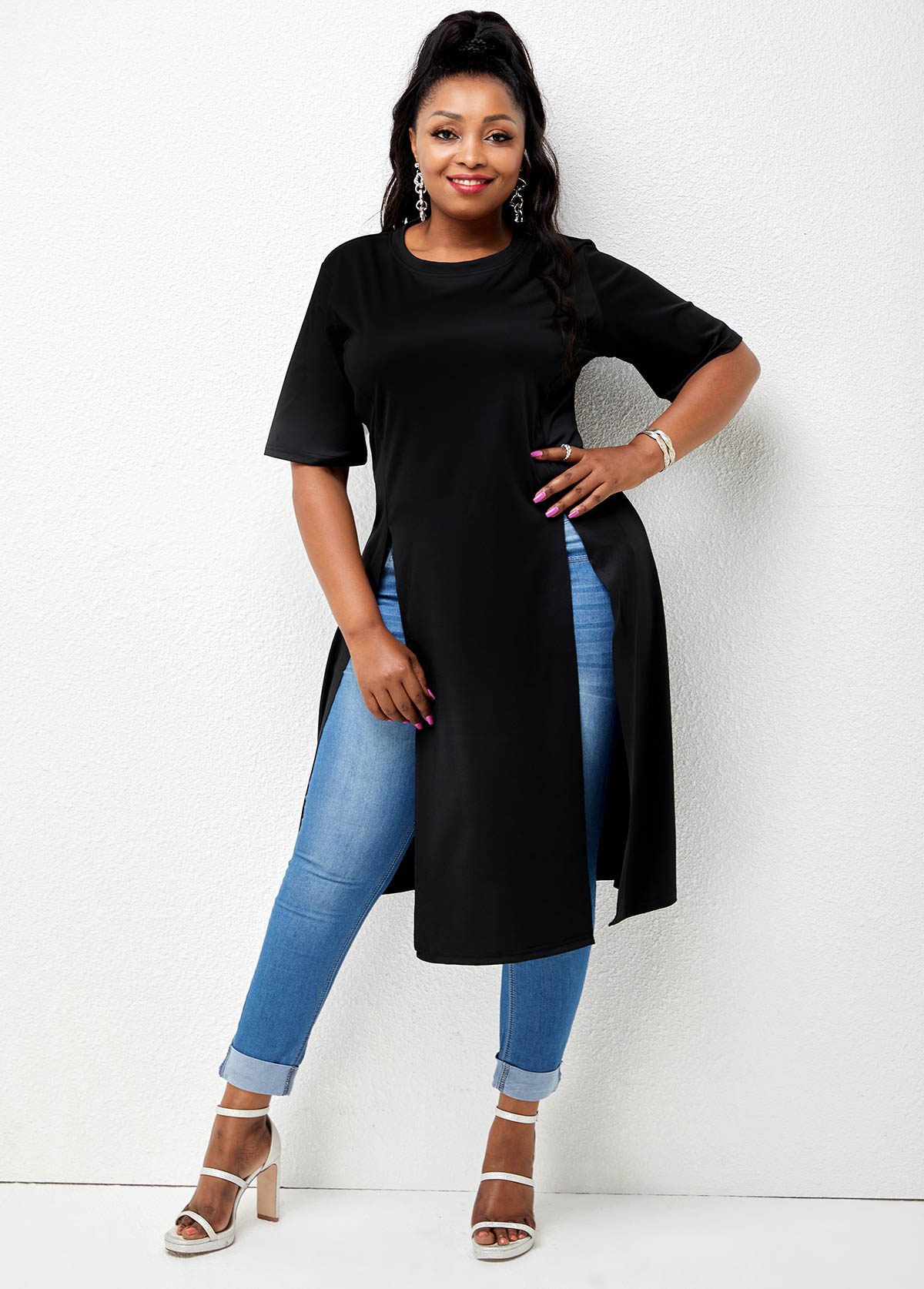 Round Neck Solid Side Slit Plus Size T Shirt