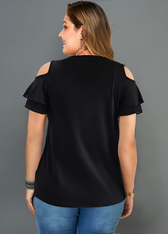 Cross Strap Plus Size Cold Shoulder T Shirt