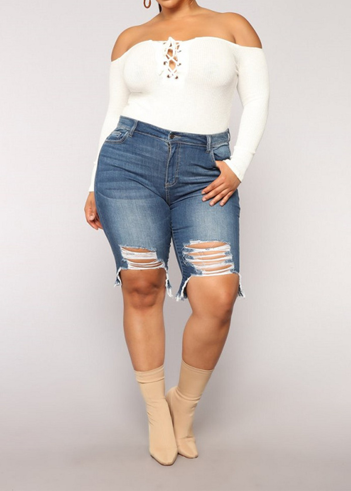 Denim Plus Size Shredded High Waisted Shorts