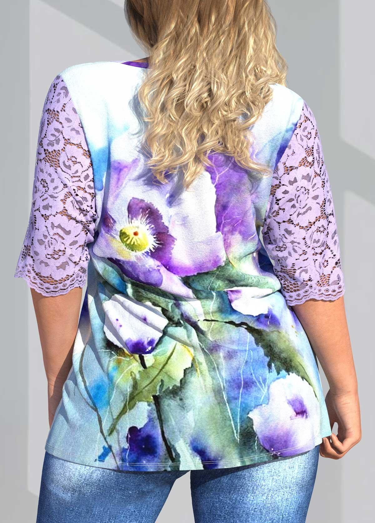 Floral Print Plus Size Lace Stitching Blouse