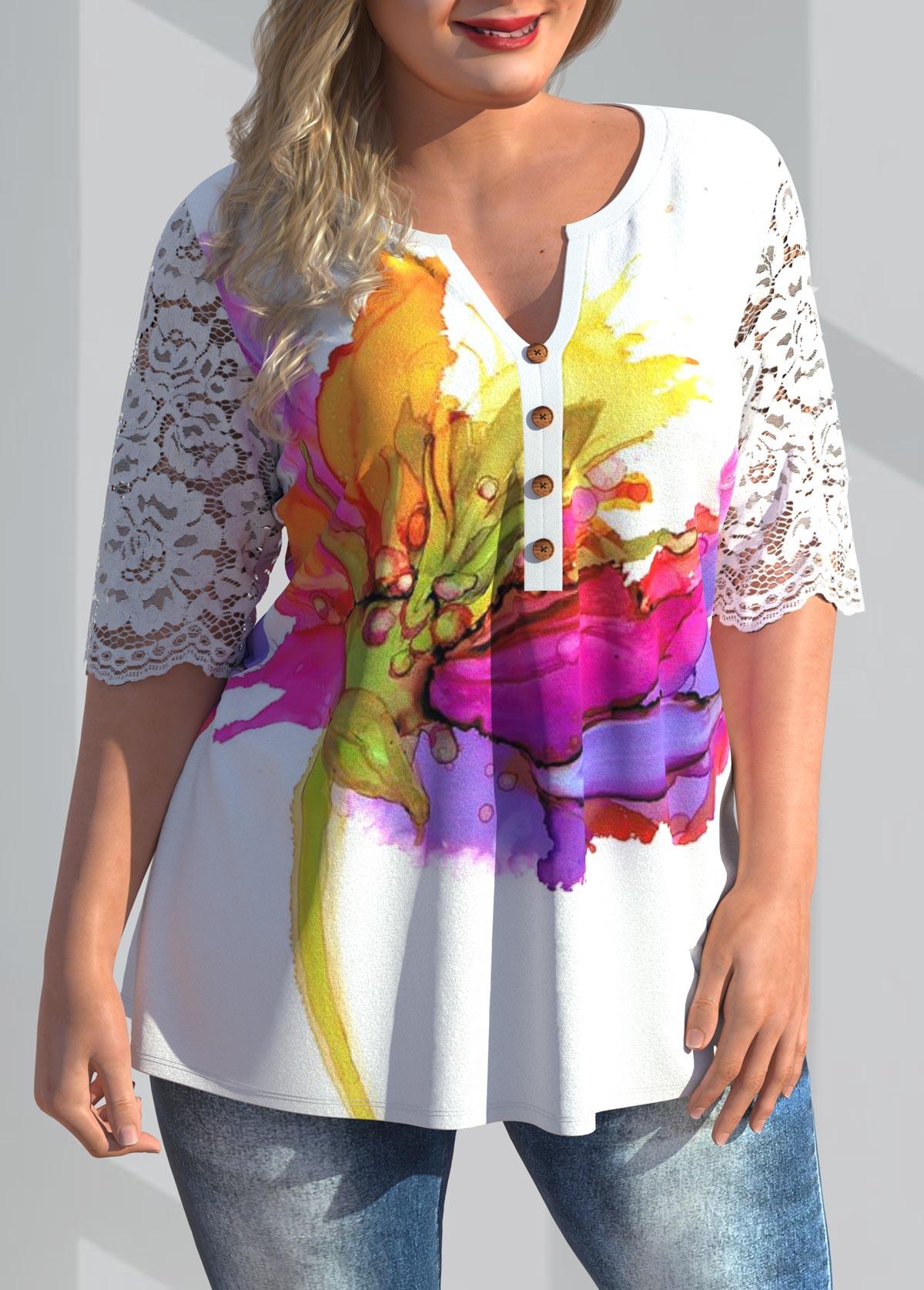 Lace Stitching Plus Size Floral Print Blouse