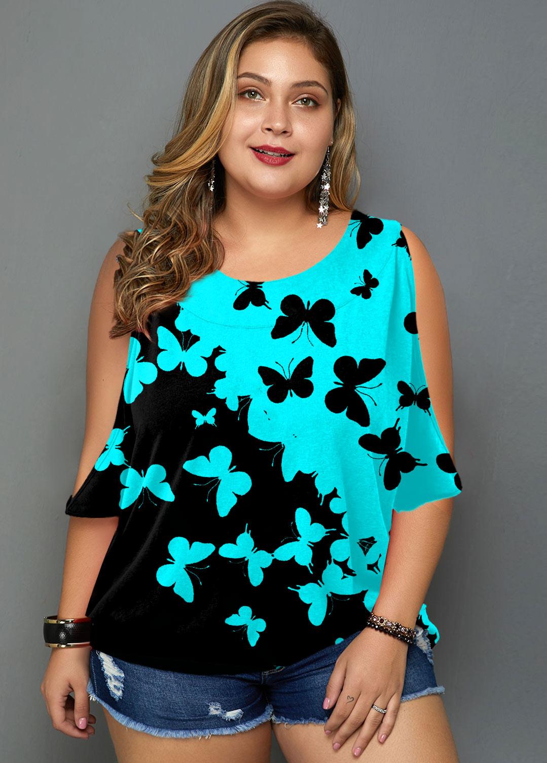 Plus Size Butterfly Print Cutout Sleeve T Shirt